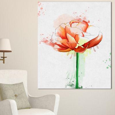 Design Art Rose With Stem And Paint Splashes LargeFloral Canvas Artwork - 3 Panels