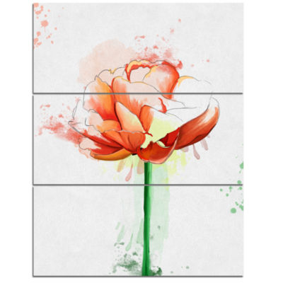 Designart Rose With Stem And Paint Splashes LargeFloral Canvas Artwork - 3 Panels