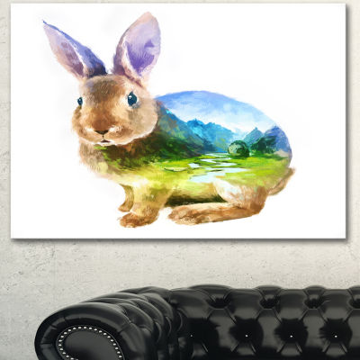 Designart Rabbit Double Exposure Illustration Large Animal Canvas Art Print - 3 Panels