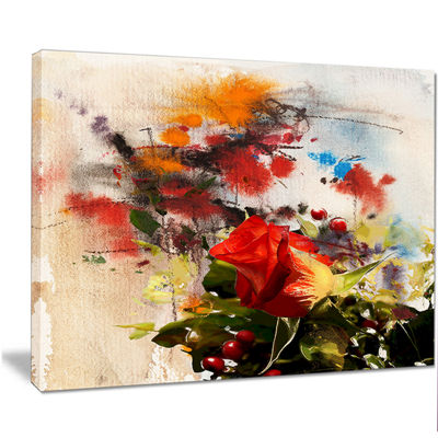 Designart Roses And Sunny Day Watercolor Floral Art Canvas Print
