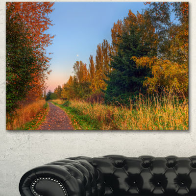 Designart Road Through Fall Forest Extra Large Landscape Canvas Art Print
