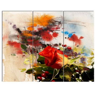 Designart Roses And Sunny Day Watercolor Floral Art Canvas Print - 3 Panels