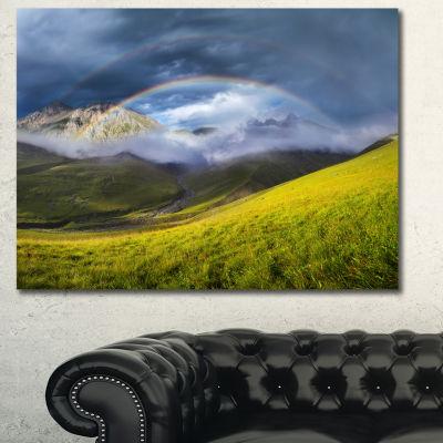 Designart Rainbow In Mountain Valley Landscape Canvas Art Print - 3 Panels