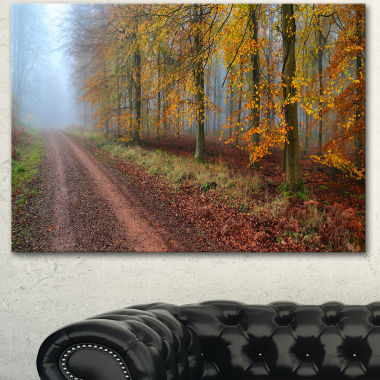 Designart Raising Sun In Fall Forest Panorama Forest Canvas Art Print