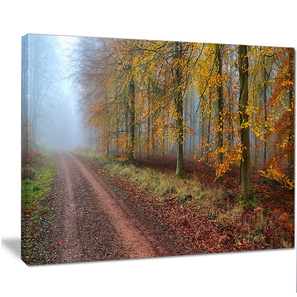 Design Art Raising Sun In Fall Forest Panorama Forest Canvas Art Print