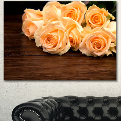 Design Art Roses On Wooden Surface Photo Floral Canvas Art Print - 3 Panels