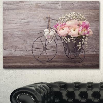 Designart Ranunculus Flowers In Bicycle Vase Floral Canvas Art Print