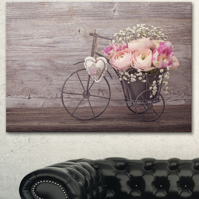 Designart Ranunculus Flowers In Bicycle Vase Floral Canvas Art Print