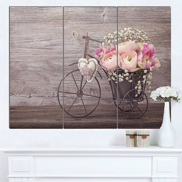 Design Art Ranunculus Flowers In Bicycle Vase Floral Canvas Art Print - 3 Panels