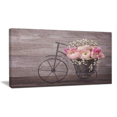 Designart Ranunculus Flowers On Bicycle Floral Canvas Art Print