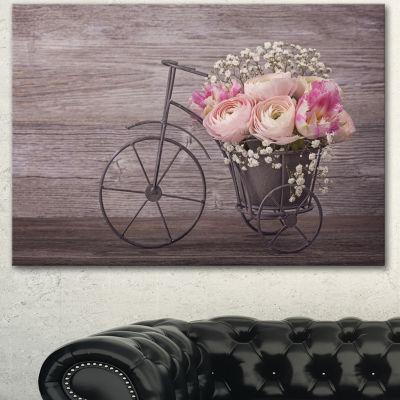 Designart Ranunculus Flowers On Bicycle Floral Canvas Art Print - 3 Panels