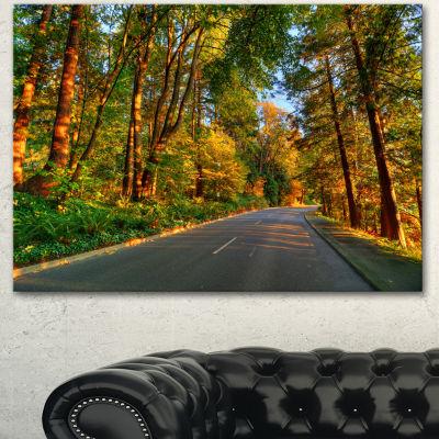 Design Art Road Through Yellow Forest Extra LargeLandscape Canvas Art Print - 3 Panels