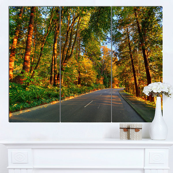 Designart Road Through Yellow Forest Extra LargeLandscape Canvas Art Print - 3 Panels