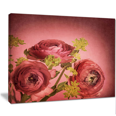 Designart Ranunculus Flowers Stem On Pink FloralCanvas Art Print