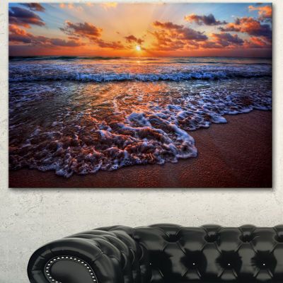 Design Art Roaring Sea Wavers During Sunset Seashore Canvas Art Print
