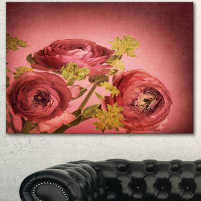 Designart Ranunculus Flowers Stem On Pink FloralCanvas Art Print - 3 Panels