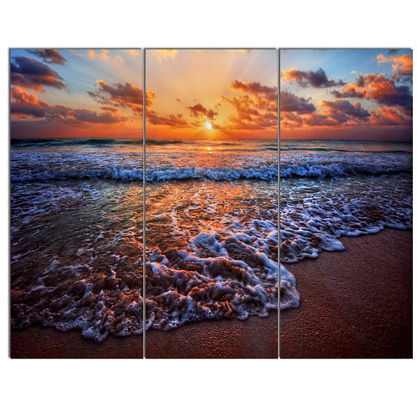 Designart Roaring Sea Wavers During Sunset Seashore Canvas Art Print - 3 Panels