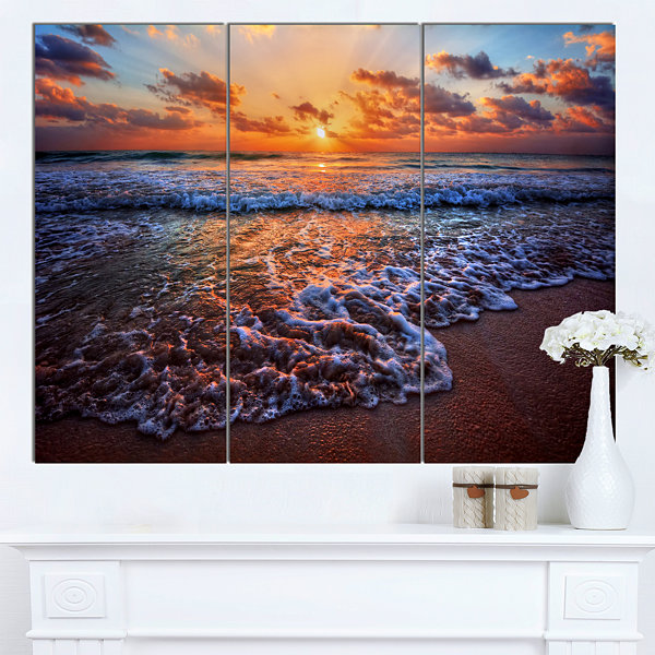 Design Art Roaring Sea Wavers During Sunset Seashore Canvas Art Print - 3 Panels
