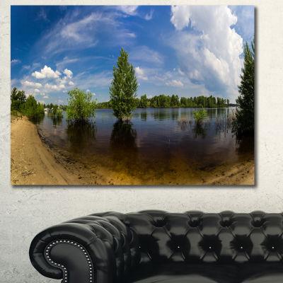 Designart Small Flood Panorama Landscape Canvas Art Print - 3 Panels