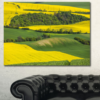 Designart Rapeseed Fields And Green Wheat Landscape Canvas Art Print - 3 Panels