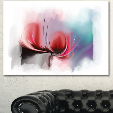 Design Art Red Abstract Flower Illustration ExtraLarge Floral Wall Art