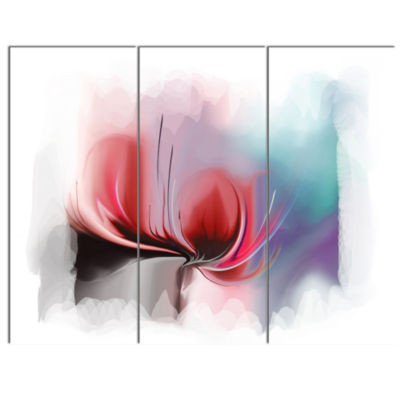 Designart Red Abstract Flower Illustration Extra Large Floral Wall Art - 3 Panels