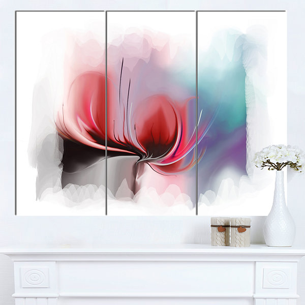 Design Art Red Abstract Flower Illustration ExtraLarge Floral Wall Art - 3 Panels