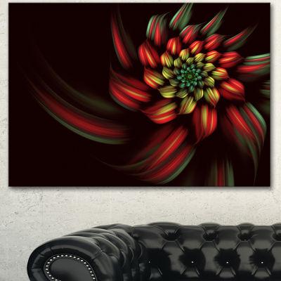 Designart Red Abstract Fractal Flower Spiral Floral Canvas Art Print