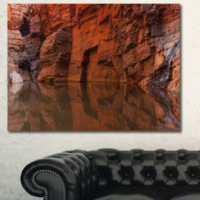 Design Art Rock Wall Reflections In Gorge LandscapeCanvas Art Print - 3 Panels