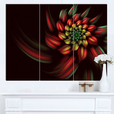 Designart Red Abstract Fractal Flower Spiral Floral Canvas Art Print - 3 Panels