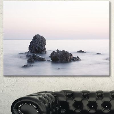 Designart Rocks In The Sea Black And White Seashore Canvas Art Print