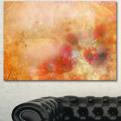 Designart Red And Pink Flowers On Brown Large Floral Canvas Artwork