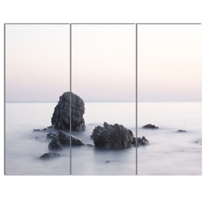 Designart Rocks In The Sea Black And White Seashore Canvas Art Print - 3 Panels