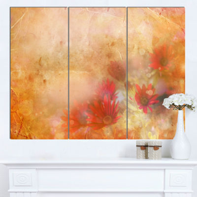 Designart Red And Pink Flowers On Brown Large Floral Canvas Artwork - 3 Panels