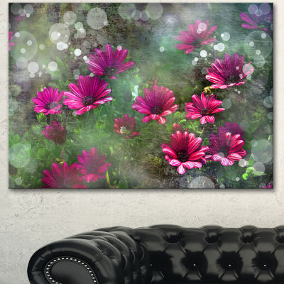 Design Art Red And Pink Flowers On Green Large Floral Canvas Artwork