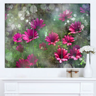 Designart Red And Pink Flowers On Green Large Floral Canvas Artwork - 3 Panels