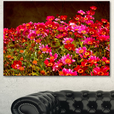Designart Small Red Flowers In Spring Photo LargeFloral Canvas Artwork - 3 Panels