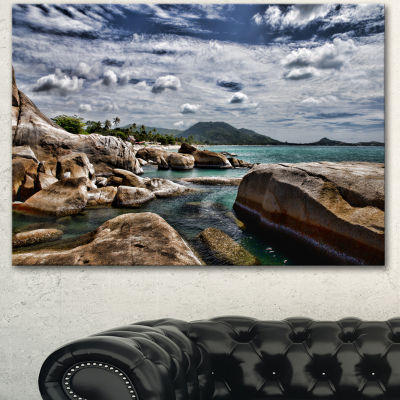 Design Art Rocky Beach With Dramatic Sky Large Seashore Canvas Art Print