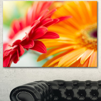Design Art Red And Yellow Daisy Flower Floral Canvas Art Print