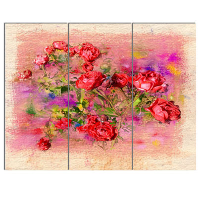Designart Roses Pastel Chalk Illustration FloralArt Canvas Print - 3 Panels