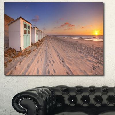 Designart Row Of Beach Huts At Sunset Modern Landscape Canvas Art - 3 Panels