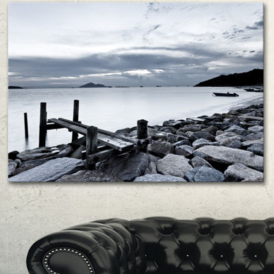 Designart Small Sea Bridge From Rocky Beach Landscape Canvas Art Print - 3 Panels