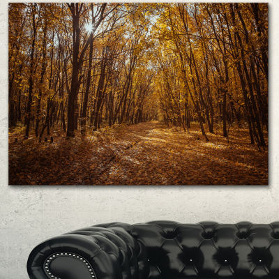 Designart Sunset In Yellow Autumn Forest Modern Forest Canvas Art - 3 Panels