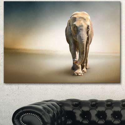 Designart Smart Elephant Walking Animal Canvas Wall Art