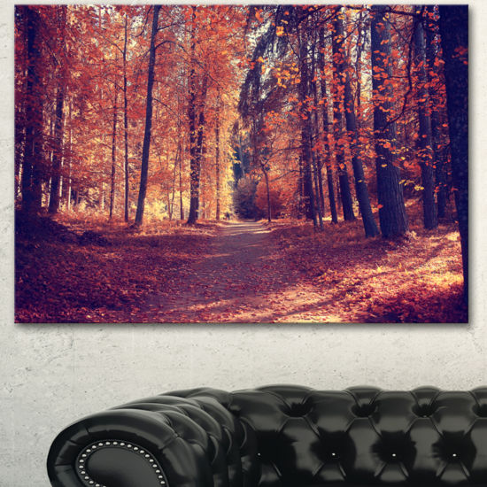 Designart Thick Woods In Colorful Fall Forest Modern Forest Canvas Art