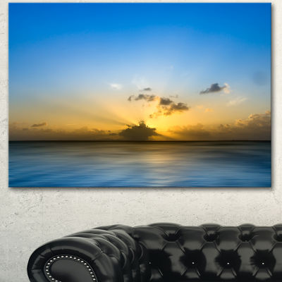 Designart Sunset Lake In South Thailand Large Seashore Canvas Wall Art - 3 Panels