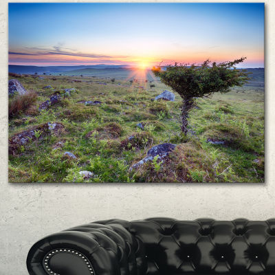 Designart Sunset On Bodmin Moor Large Landscape Canvas Art - 3 Panels