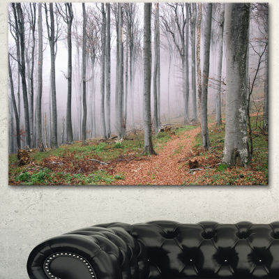 Designart Thick Woods In Morning Forest Modern Forest Canvas Art - 3 Panels