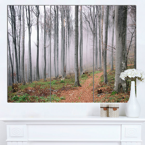 Design Art Thick Woods In Morning Forest Modern Forest Canvas Art - 3 Panels