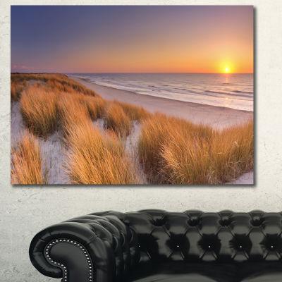 Designart Sunset On Texel Island Beach Modern Seashore Canvas Wall Art
